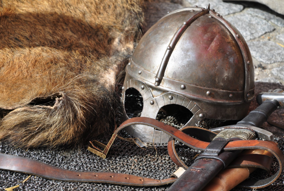 Medieval helmet and chain armour