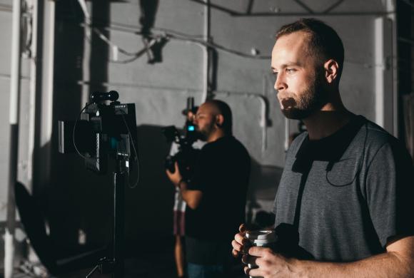 Film crew shooting a film